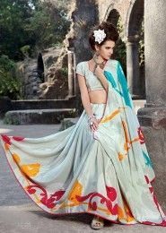 Casual Wear  Crepe White Printed Saree