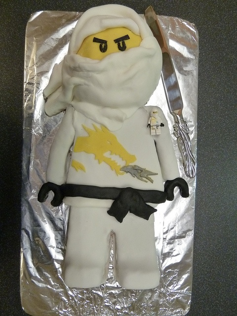 "Dan's 7th Birthday Cake - Lego Ninjago Cake ""Zane"" by archers30 - ""thanks for all the fish"", via Flickr"
