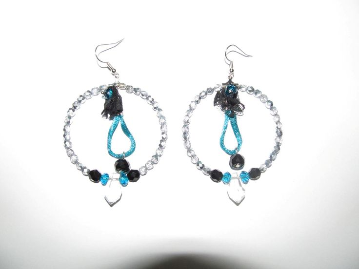 Handmade earrings (1 pair)  Made with glass beads, fabric parts and antiallergic hangings.