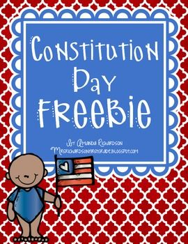 Constitution Day September 17th is Constitution Day. Here are a few things I have put together to use during the day with my little ones! Please let me know if you have any questions! I am happy to help! Happy Teaching!AmandaMrs. Richardson's Class DJ Inkers License #1113193917