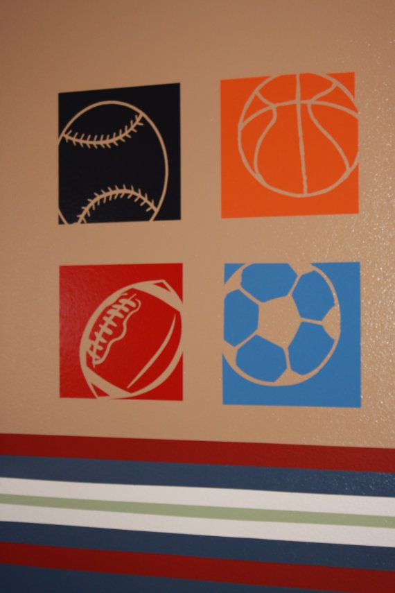 4 Sports Wall Decals   Made From Vinyl Home Decor Boys Room Baseball  Football Soccer Basketball