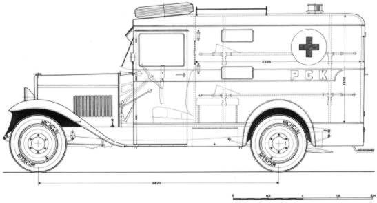 CWS T1 - sanitarka. Kolejną odmianą osobowego CWS T1 była sanitarka wojskowa, zaprojektowana na typowym podwoziu przez inż. Stanisława Panczakiewicza. Kabina sanitarna była wykonana według norm obowiązujących w Wojsku Polskim jako konstrukcja drewniano-stalowa, szkieletowa (szkielet z drewna jesionowego, obity blachą), oddzielona od szoferki (zbudowanej w ten sam sposób) ścianką z przesuwaną szybką.