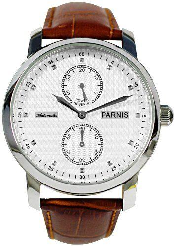PARNIS Automatik Herrenuhr Modell 2001 mechanische Armbanduhr Lederarmband Edelstahl Automatikuhr von LIV MORRIS