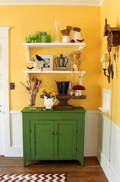 Ode to Oz: A fall-inspired display down the Yellow Brick RoadFall Displays, Dining Room, Green Cabinets, Display Inspiration, Fall Decor, Coffee Bar, Yellow Bricks Roads, Wizards Of Oz, Bright Colors