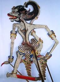 Anoman the white monkey warrior and close companion of Rama, Wayang Kulit, Sragen Central Java, Leather