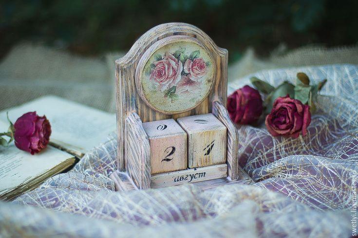 """Купить Вечный календарь """"Старые письма"""". - бледно-розовый, вечный календарь, вечный календарь декупаж"""