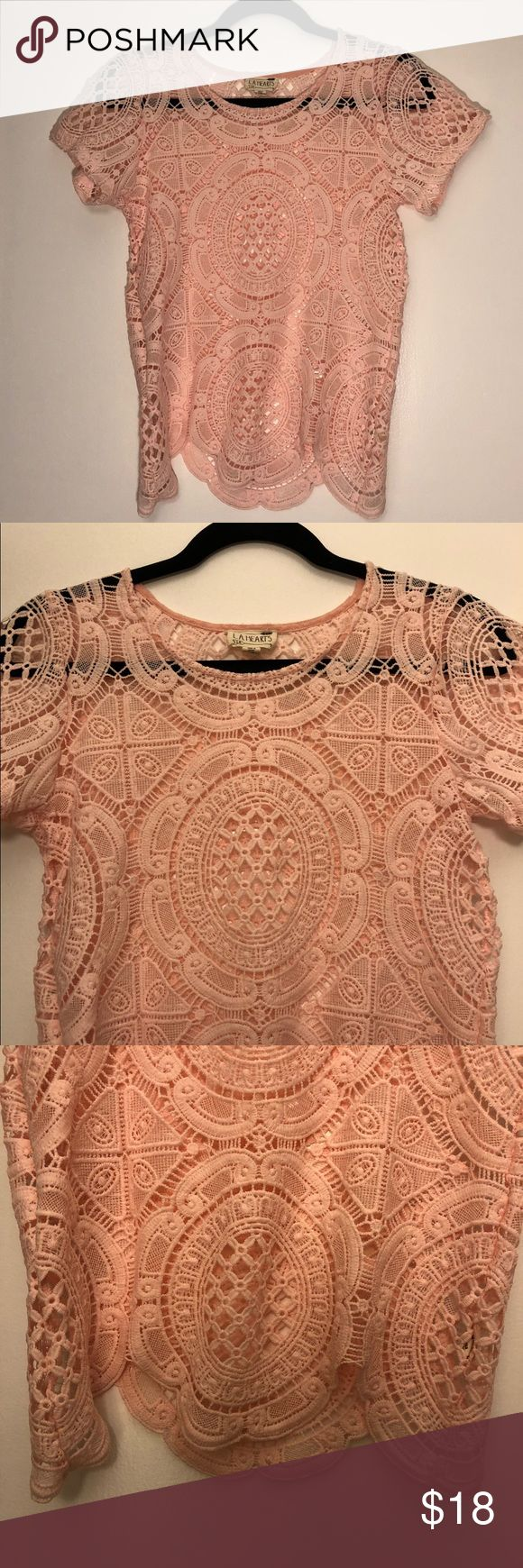 Pink LA Hearts Crochet Cover Blouse Scallop Top XS LA Hearts brand light baby pink crochet short-sleeve top - great layering piece and perfect for the summer! La Hearts Tops Blouses