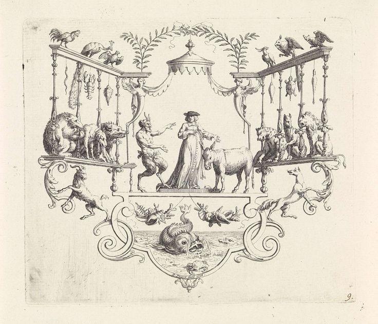 Bernard Picart | Sater, geleerde en een ezel, Bernard Picart, 1718 | Onder een baldakijn staan een sater, een geleerde en een ezel. Links en rechts in de ornamentele lijst kijken dieren toe. Onderaan een walvis en een krab.