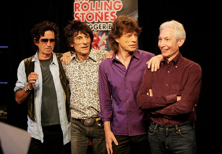 Keith Richards, Ronnie Wood, Mick Jagger and Charlie Watts of The Rolling Stones pose for a photograph during a dress rehearsal prior to the opening concert of the 2007 European leg of their 'A Bigger Bang' World Tour at the Videohouse on June 1, 2007 in Brussels, Belgium.    (Photo by Getty Images)