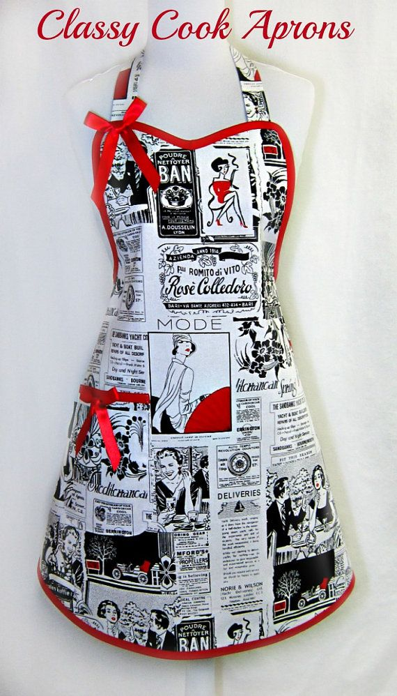 Apron RETRO NEWSPRINT, Vintage INTERNATIONAL News Ads, Red & Black, Designer Pretty Party Hostess, Unique Gift, by ClassyCookAprons, $36.50