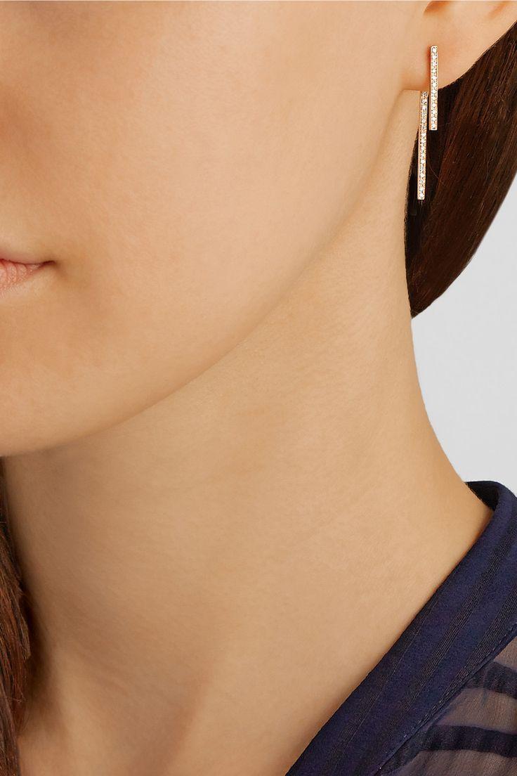Diane Kordas|18-karat rose gold diamond earrings|NET-A-PORTER.COM
