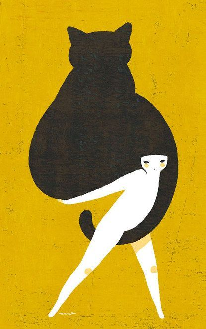 """Ying & Yang """" my soft kitten's tail""""  ex- libris  detail Japanese Illustration 1910"""