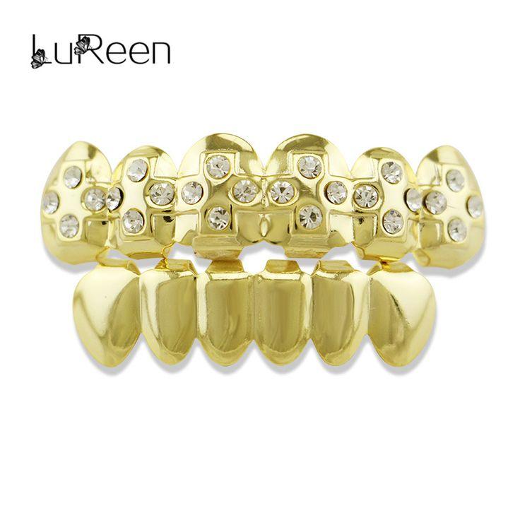 LuReen Punk Gold Teeth Grillz Top&Bottom Rhinestone Cross Tooth Grillz Set Cosplay Vampire Teeth Caps Party Jewelry Gift LD0050
