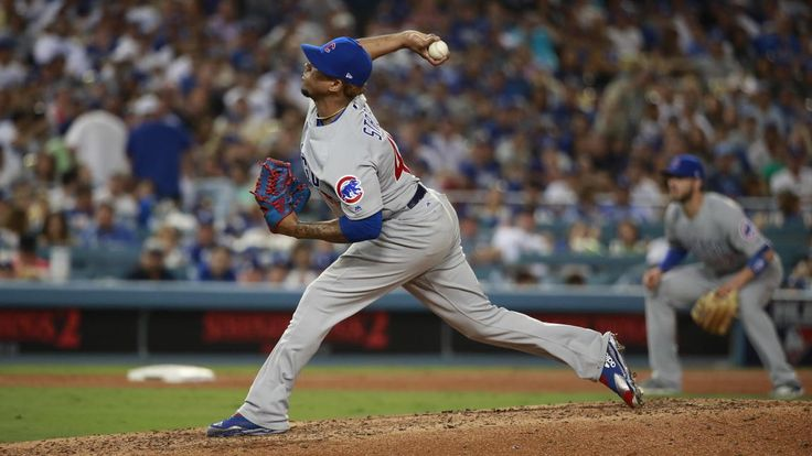 October 15, 2017:  NLCS Game 2: Cubs-Dodgers 4 to 1, Dodgers.     Cubs relief pitcher Pedro Strop pitches in the seventh inning.