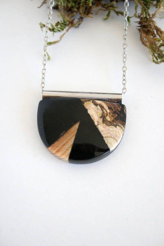 Resin Wood Jewelry, Jewellery, Boho, Bohemian Style, Geometric Necklace, Semi Circle, D Shape, Black Pendant, Long Necklace, Festival