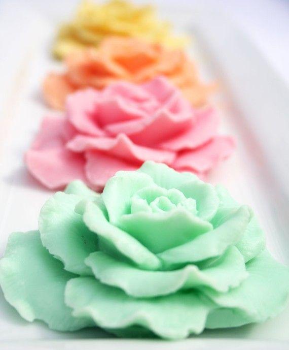 Decorative Rose Soap Wedding, Bridal Shower Favor Hostess Gift Vegan Soap Shea Butter Soap on Etsy, $4.95