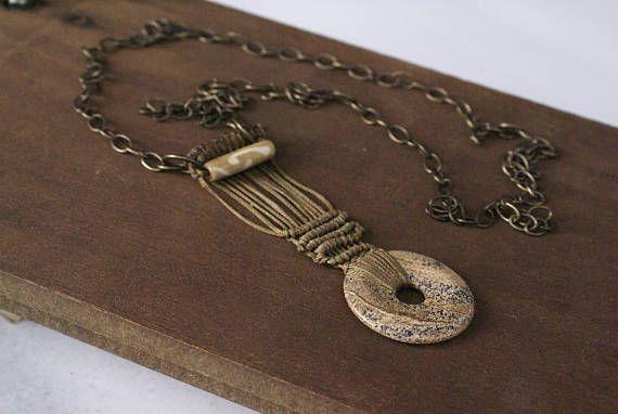 Jasper Pendant Necklace Boho Gemstone Jewelry Healing Stone