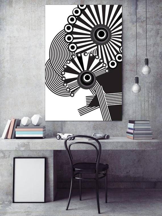 Black and White Art Poster Modern Black and White Wall Art
