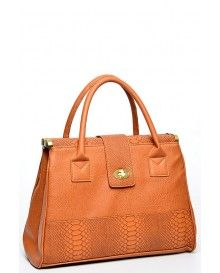 Structured Brown Snakeskin Handbag @ £4.99
