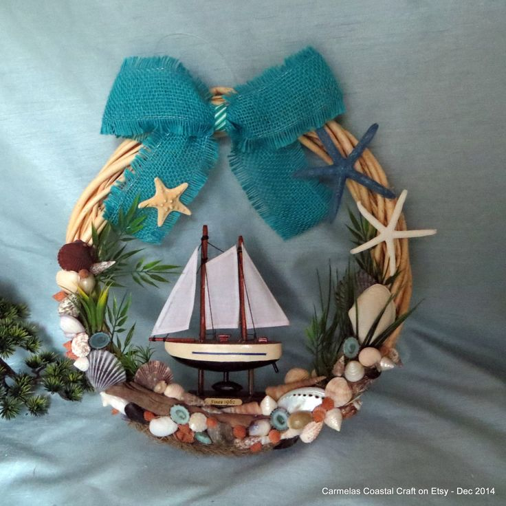 Beach decor wreath_Sailboat wreath with by CarmelasCoastalCraft