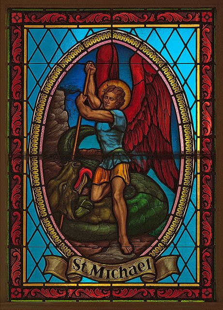 Saint George Roman Catholic Church, in New Baden, Illinois, USA - stained glass window of Saint Michael