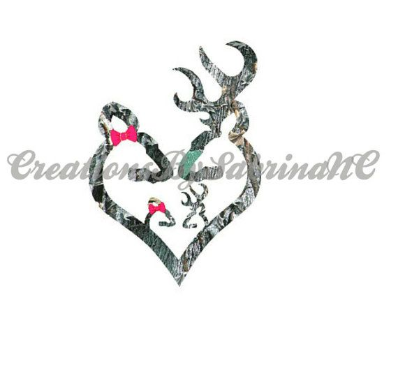 Real Tree Camoflage Browning Deer Family by CreationsBySabrinaNC