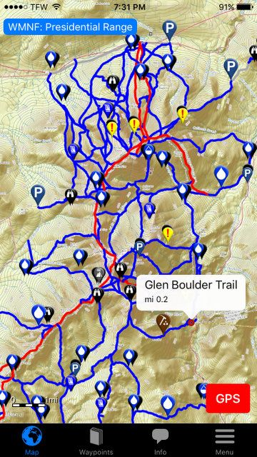 All the WMNF Trails in each module are loaded onto your phone and updated automatically