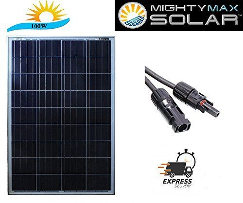 #marineelectronics 100 Watts 100W Solar Panel 12V - 18V Poly Off Grid Battery Charger for RV - Mighty Max Battery brand product