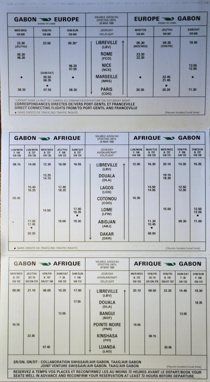 Air Gabon Timetable