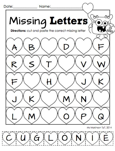 "February Printable Packet - Kindergarten Literacy and Math. Missing letter ""cut and paste"" worksheet for Valentine's Day."