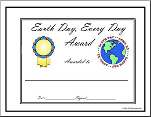 """Award: Earth Day Every Day - """"Earth Day Every Day"""" award, in color."""