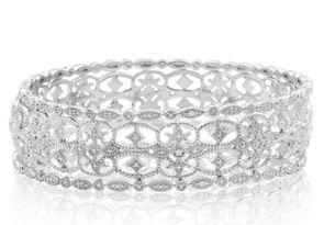 1/4 Carat Diamond Bangle Bracelet Set In Sterling Silver