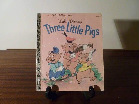 "$7.50  Vintage 1981 Walt Disney's ""The Three Little Pigs"" - A little Golden Book / Kids Book / Big Bad Wolf / Movie Adaption"