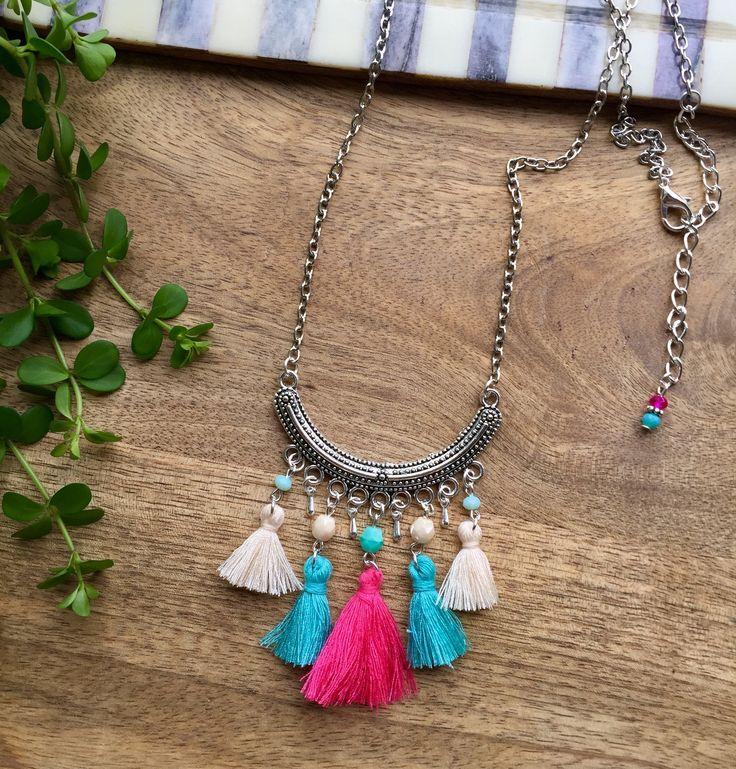 Fuchsia & Turquoise Mini Tassel Long Necklace, Festival Necklace, Beaded Necklace, Boho necklace, Pendant Necklace, Bohemian Jewelry