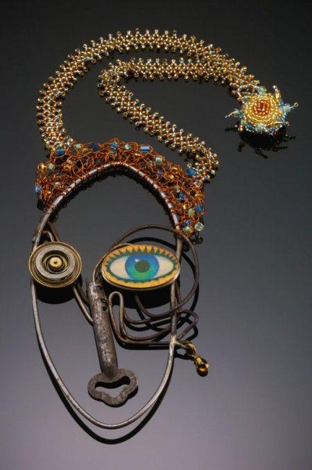 Found wire, clock part, lenticular image, #art #jewelry