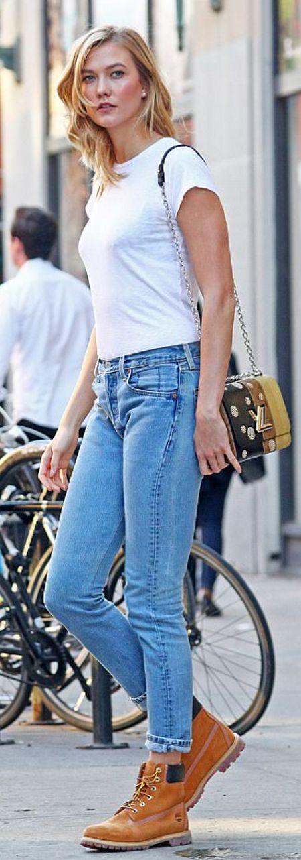 Who made Karlie Kloss' white tee, tan boots, and handbag?