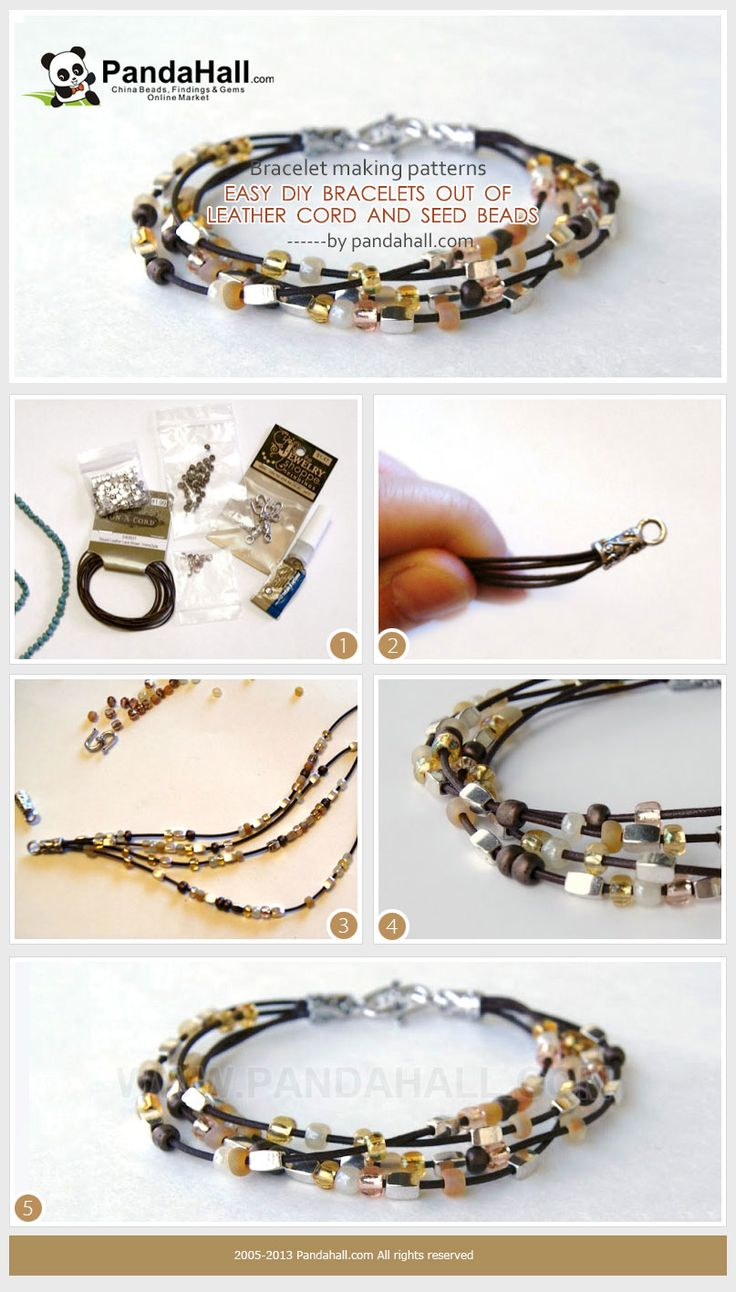 I made the easy diy bracelets from leather cord and versatile tiny seed beads. To practice the bracelet making patterns may only takes you 10 minutes or less. For beginners, I recommend this guide.