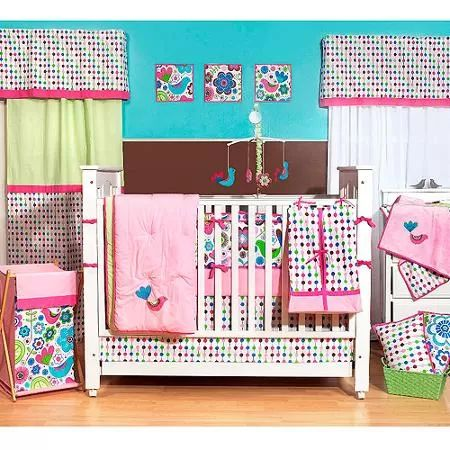 Bacati Botanical Pink/Multicolor 10-Piece Nursery-in-a-Bag Girls Crib Bedding Set with Bumper Pad for US standard Cribs