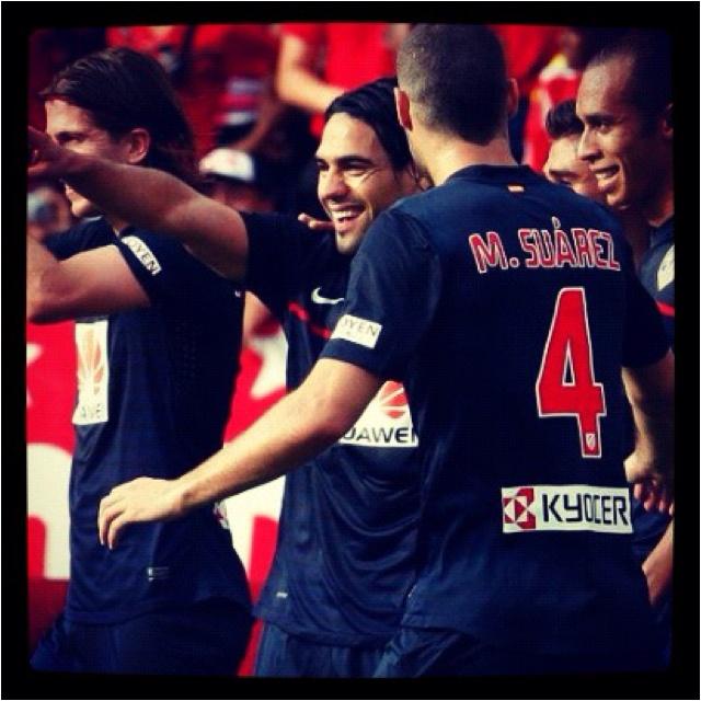 Atleti en el Pascual. Falcao celebrando su gol!