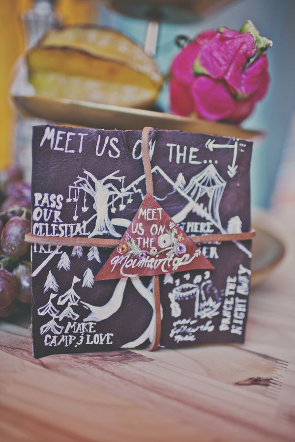 faux leather wedding invitations // photo by Sassyfras Studio