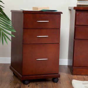 The 3 Drawer Mobile Modern File Cabinet   Dark Cherry