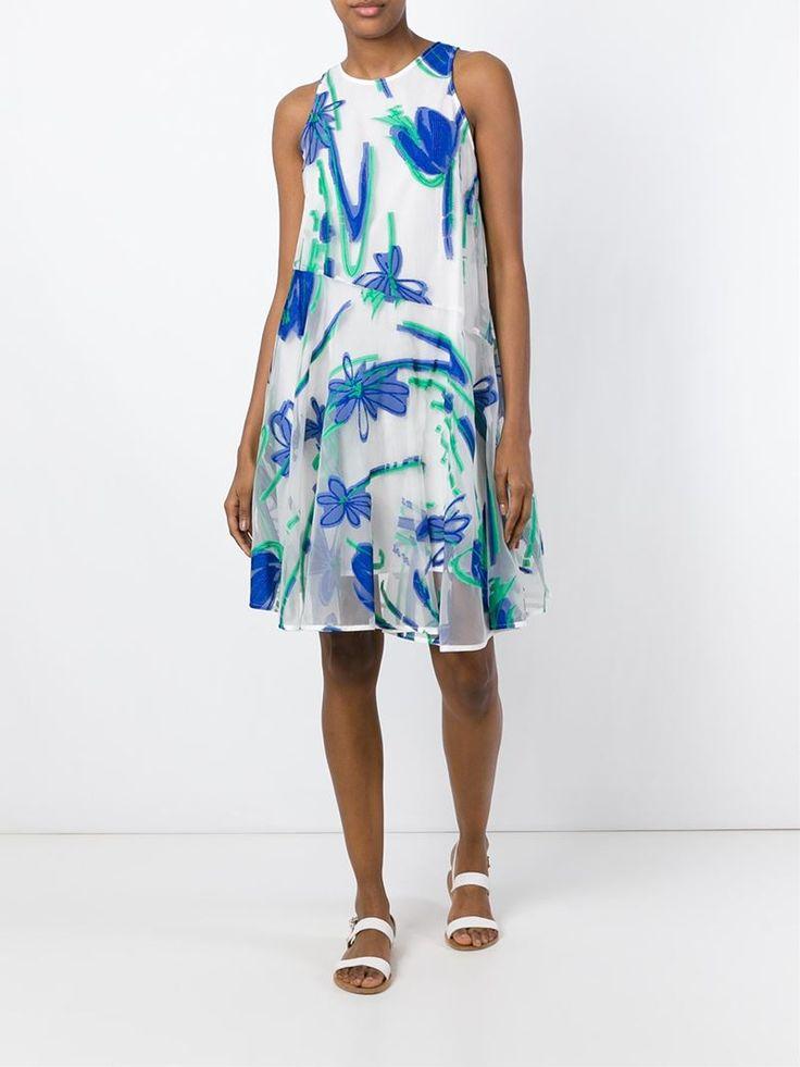 ¡Cómpralo ya!. P.A.R.O.S.H. Vestido De Jacquard Floral. Vestido de jacquard floral en algodón y mezcla de seda blanco, azul y verde de P.A.R.O.S.H.. , vestidoinformal, casual, informales, informal, day, kleidcasual, vestidoinformal, robeinformelle, vestitoinformale, día. Vestido informal  de mujer color azul claro de P.A.R.O.S.H..