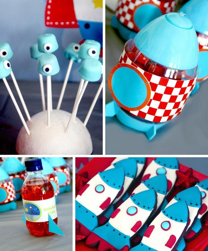 Space Cadet Party - red, white and aqua. Turning the water bottles into rocket ships is a cute idea