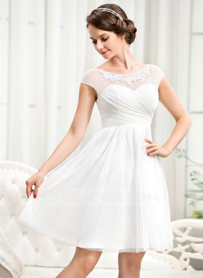 Line / Princess Scoop Neck Knee Tulle Wedding Dress with Ruffle Lace Embroidery appliques Sequins (002056244)