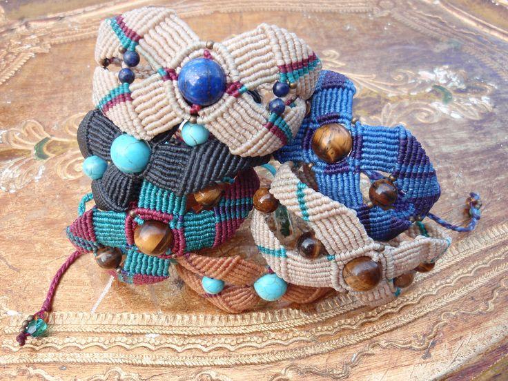https://flic.kr/p/wEoBpp | Macramé bracelets with semi-precious beads | Macramé bracelets with semi-precious beads