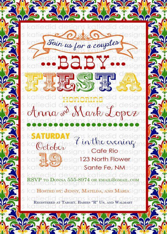 fiesta baby shower invitation gender reveal coed by katiedidesigns