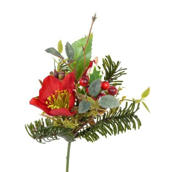 Helleborus steek boeket rood 17 cm  Kerststuk versiering steek boeket van ongeveer 17 cm. Kerststuk versiering met een rode helleborus bloem rode besjes en dennentakjes.  EUR 2.25  Meer informatie
