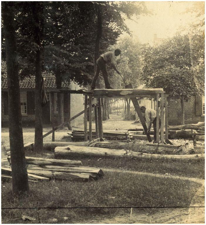 Nuenen - Het verwerken van een boom tot planken door het kraanzagen 1880
