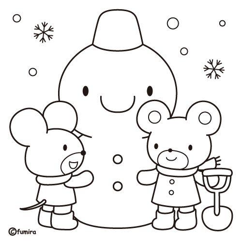 雪だるまのイラスト(ぬりえ)