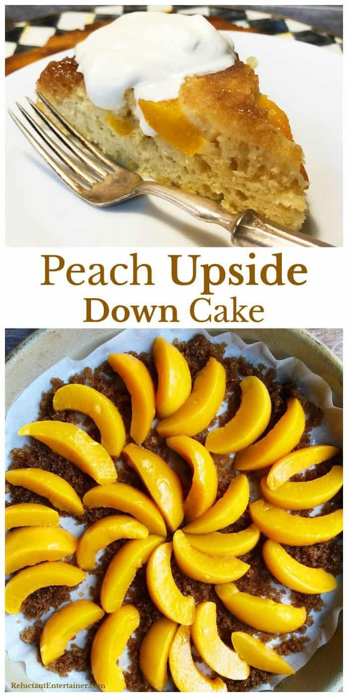 Making Peach Upside Down Cake for Dinner Guests is a must-make recipe, easy and delicious to pull hot from the oven, served with a dab of whipped cream! Whether you call it upside down peach cake or just upside down cake, you can use fresh or canned peaches in this recipe!